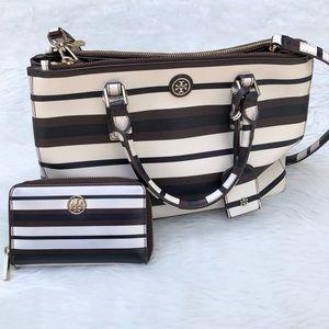 Tory Burch Mini Robinson Tote Handbag + Wallet